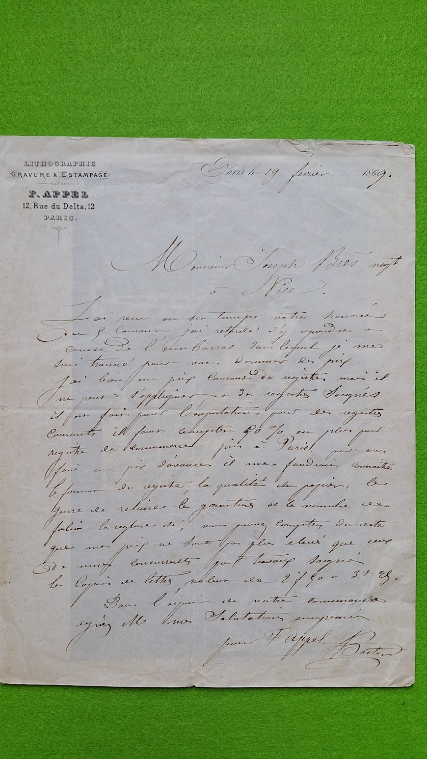 Brief an Jaques / Joseph Brès von der Lithographischen Druckerei François Appel - Rue du Delta, 12 - Paris, 19. Februar 1869