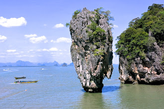 "Photo: Khao Tapoo (""Nail Mountain"") by James Bond island in Phang Nga Bay"
