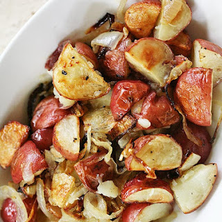 Roasted New Potatoes with Caramelized Onions and Truffle Oil