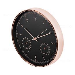 Ceas auriu de perete, termometru si higrometru, diametru 30 cm