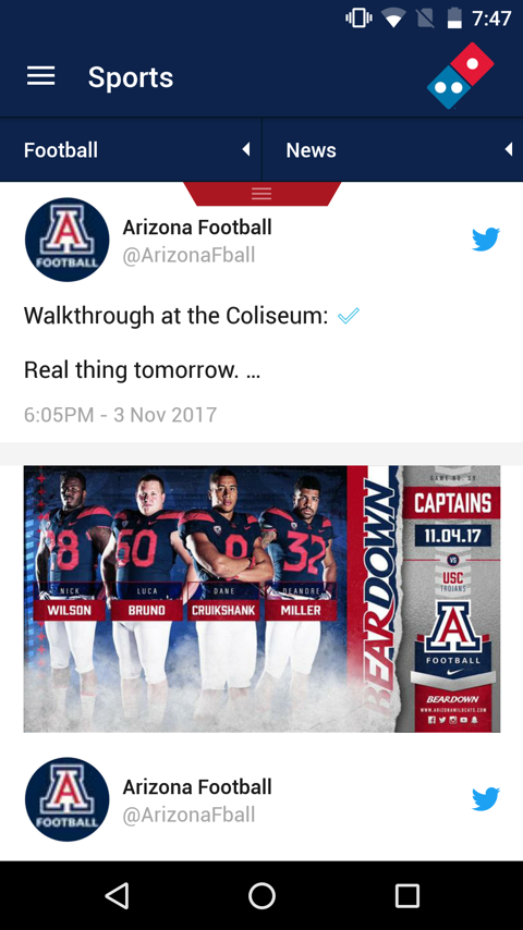 Arizona Wildcats Gameday App- screenshot