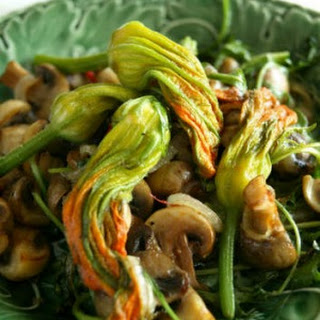 Zucchini Flowers With Mushrooms, Onion And Chilli.