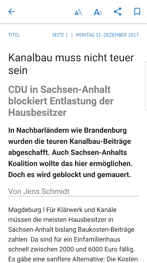 Volksstimme digital- screenshot