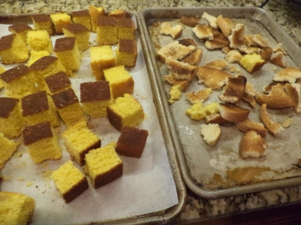"THE NIGHT BEFORE: Cut cooled cornbread into 2""x2"" cubes & lay out to dry..."