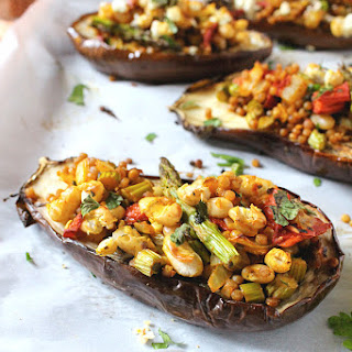 Israeli Cous Cous Stuffed Eggplant {Vegan}