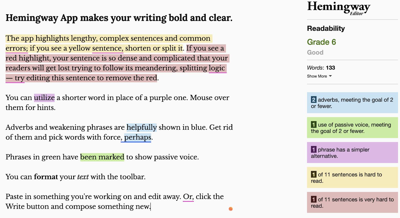Hemingway app editor interface