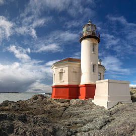 Light on a Hill by Ken Smith - Buildings & Architecture Public & Historical ( bandon, lighthouse, oregon, coquille river lighthouse )