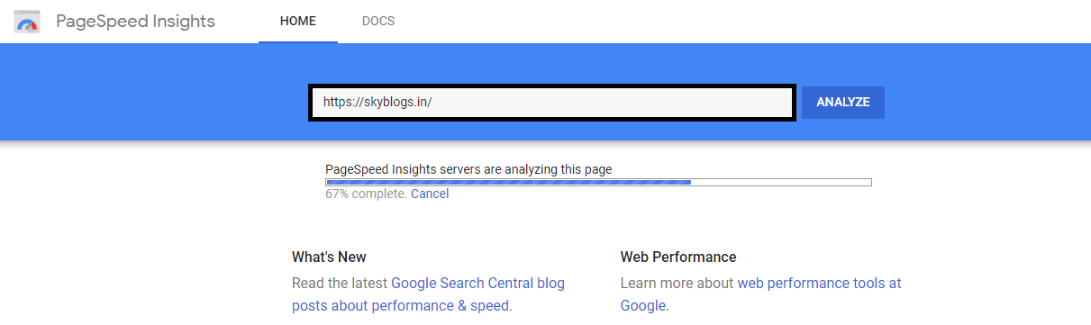 This image show how you can enter your website  URL in page speed insight . it one of the best Google free SEO tool