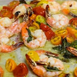 Sheet Pan Shrimp Bruschetta.