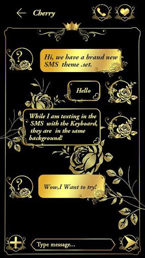 (FREE) GO SMS GOLD ROSE THEME screenshot