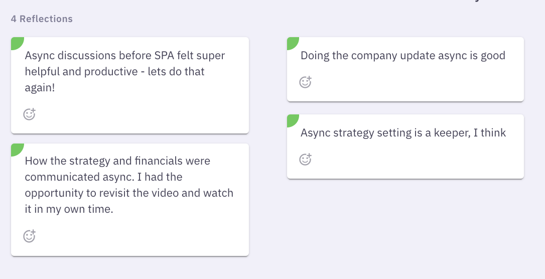 Feedback from the team on our async strategy process for virtual retreats