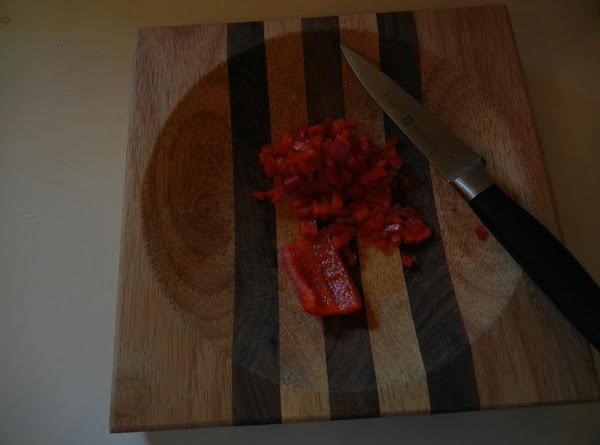 Chop red pepper.