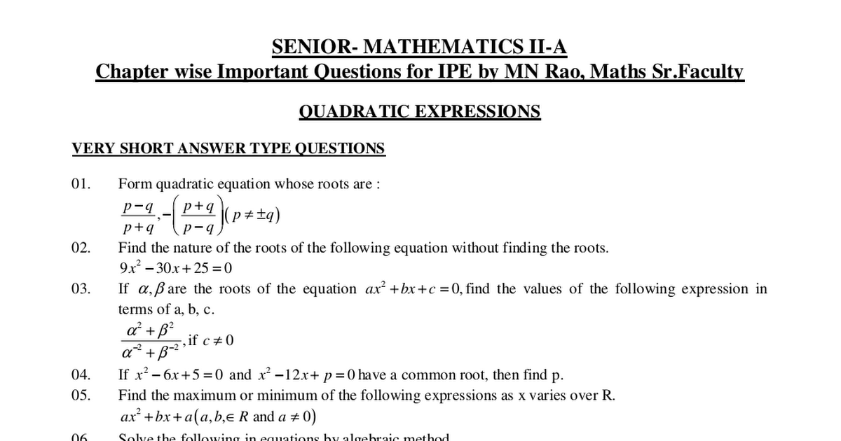 MATHS - IIA QUESTION BANK - Chapter wise important questions