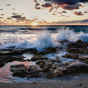 Carlin Park #5 by Tim Azar - Landscapes Waterscapes ( clouds, water, sand, tim azar, waves, rocky, stone, jupiter, ocean, beach, landscape, carlin park, florida, shoreline, sunrise, rocks )