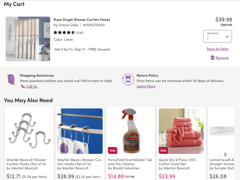 Screenshot of Wayfair's personalised product recommendations on the checkout page, a type of online visual merchandising.
