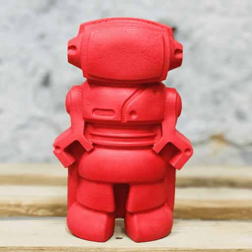 déco en béton robot rouge déco geek