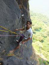 Photo: Ajit, a little apprehensive about leaning back in to the P2 hanging belay on the lower half of Duke's Nose, Lonavla, Maharashtra, India.