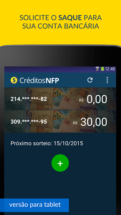 Créditos NFP (Nota Paulista)- screenshot