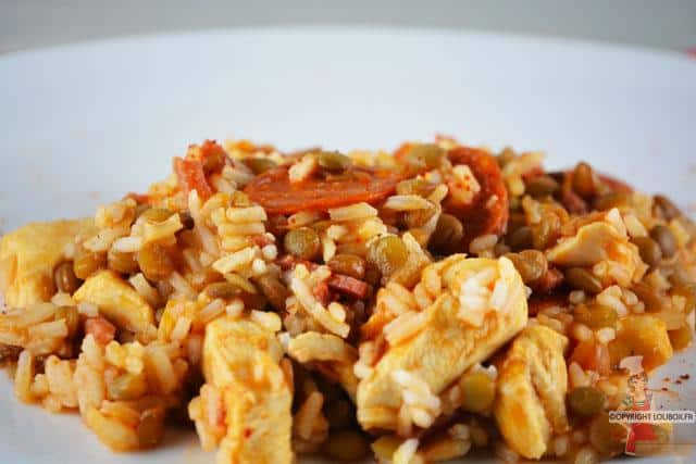 Sauteed Chicken and Chorizo with Yellow Lentils and Rice Recipe