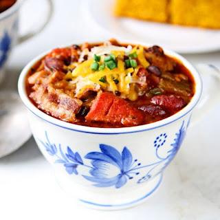 Three-Bean Chili with Bacon.