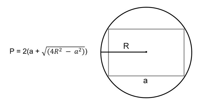 Как вычислить периметр прямоугольника: зная одну любую сторону и радиус описанной окружности