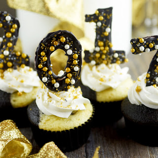 Tuxedo Cupcakes with Candy Numbers for New Years Eve.