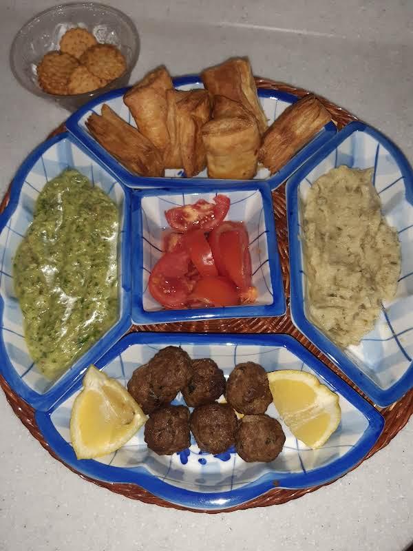 Meze Platter With Caper Dip, Parsley Dip, Cheese Pies & Keftedakia (maetbals).