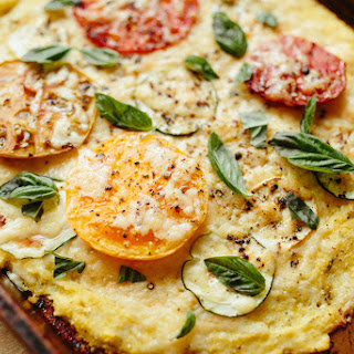 Polenta Pizza with Heirloom Tomatoes and Summer Squash