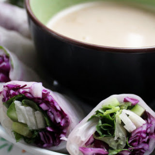 Red Cabbage & Jicama Spring Rolls with Peanut Sauce.