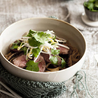 Five Spice Duck Breast with Mushroom Noodles.