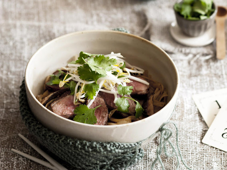 Five Spice Duck Breast with Mushroom Noodles Recipe