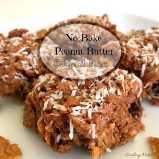 Healthy No-Bake Peanut Butter Cereal Bars.