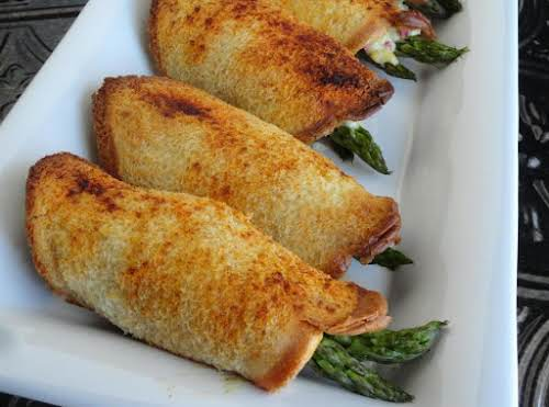 "Blooming Asparagus Roll-ups ""The spread that goes on the bread is wonderful...."