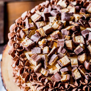 Peanut Butter Snickers Cake.