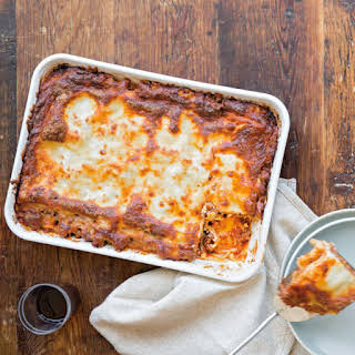 Beef and Sausage Lasagna with Marinara.
