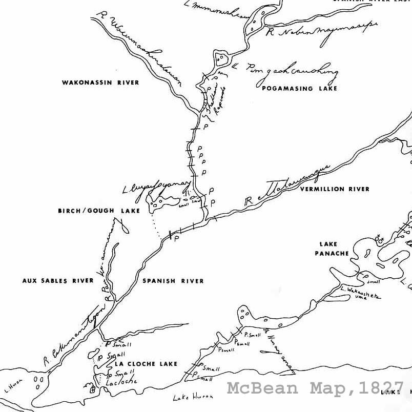 Photo: After the amalgamation of the North West and Hudson's Bay Companies in 1821, Fort La Cloche became the HQ for the Lake Huron District of the HBC. This portion of a larger map, drawn in 1827 by the chief factor for the district, John McBean, illustrated the major waterways of the area. Pogamasing had a different name then as it was called Pimgashcaushing. (adaptation of HBC map by Inco Metals Ltd)