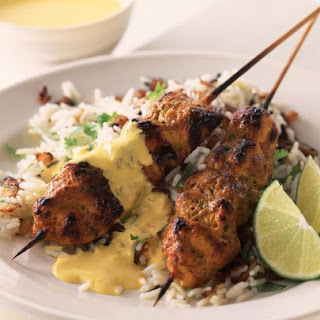 Chicken Tikka Kebabs with Almond Sauce.