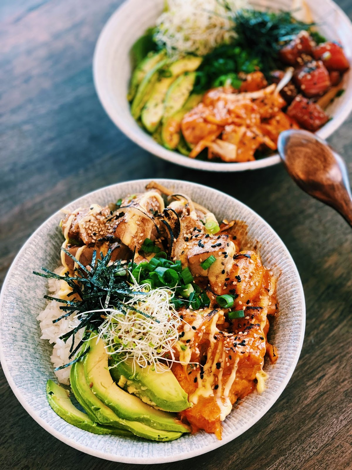 Poke Bowl - Spicy Creamy Ahi Tuna and Shoyu Tuna