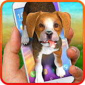 Dog on screen – beagle. Prank app.