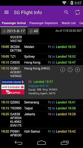 新加坡航班信息