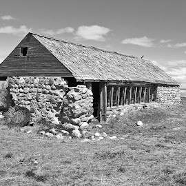 Abandoned Stone Barn by James Oviatt - Black & White Buildings & Architecture
