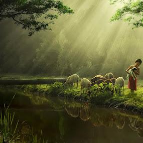 Kambing Kecilku by Ipoenk Graphic - Babies & Children Children Candids ( children, landscape )