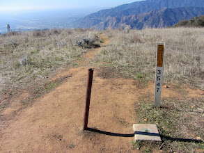 Photo: View west from Glendora Peak (2596') with the L.A. County Survey marker in the foreground