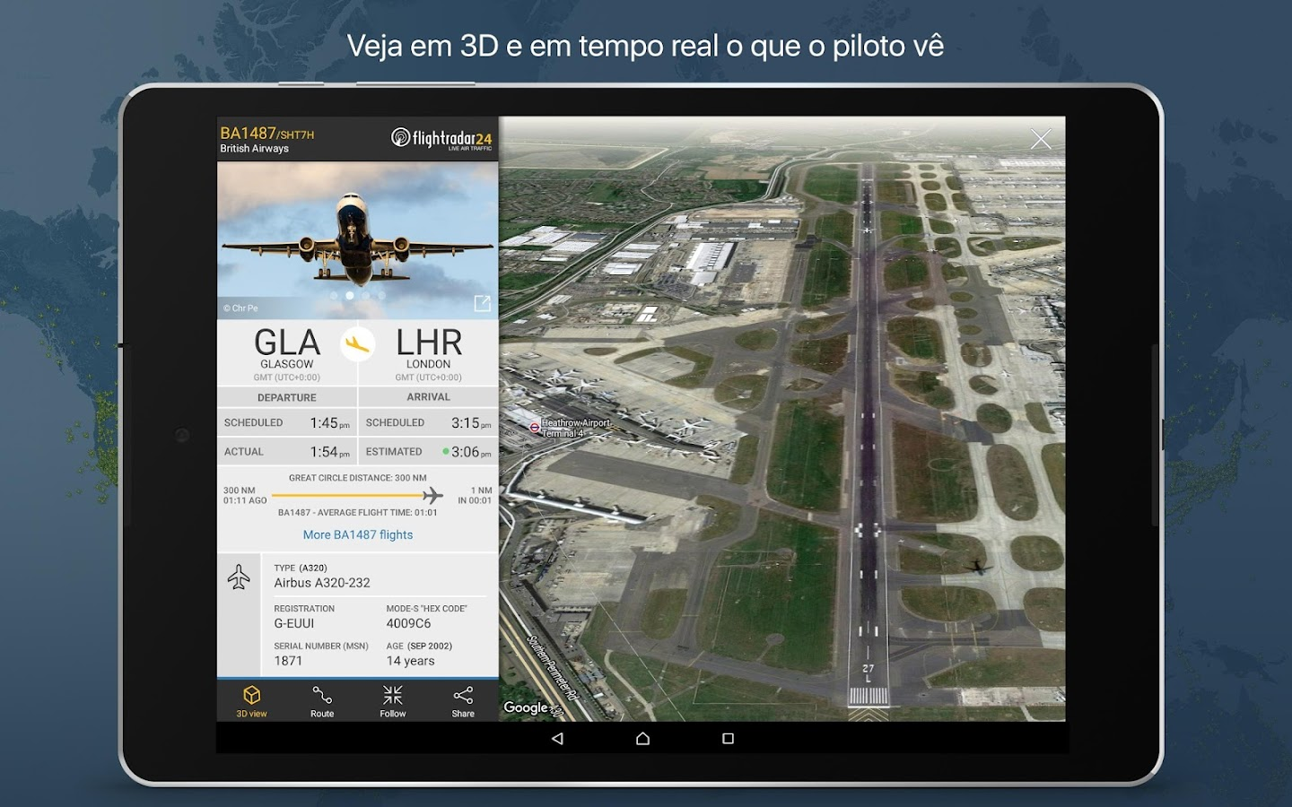 Flightradar24 Rastreador de voos– captura de ecrã