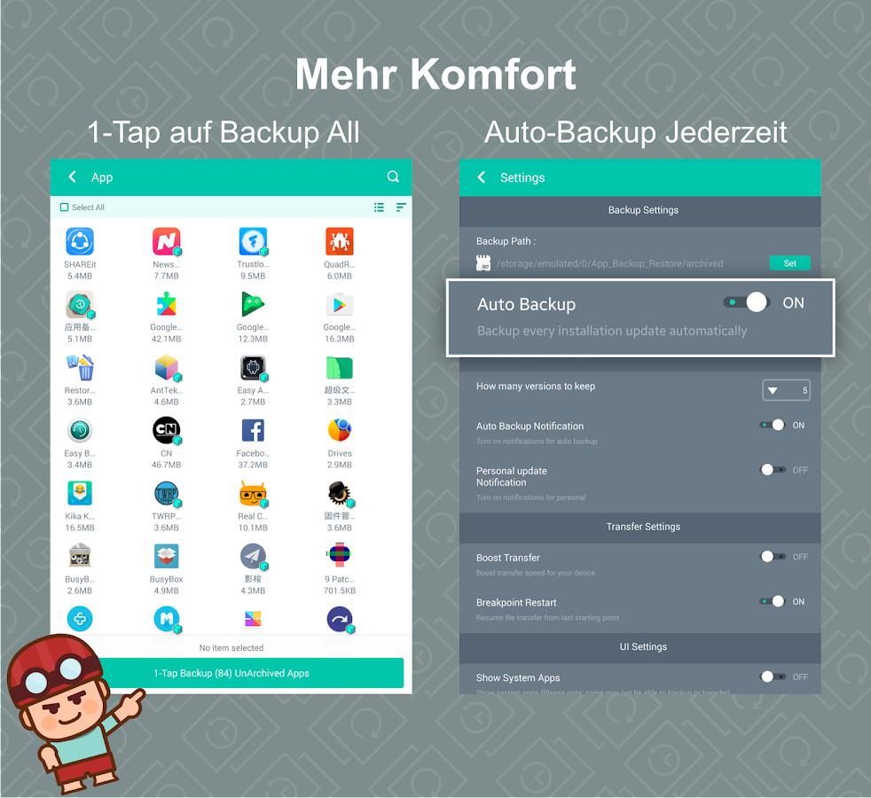 app backup restore transfer android apps auf google play. Black Bedroom Furniture Sets. Home Design Ideas