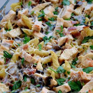 Creamy Chicken Mushroom Pasta Bake.