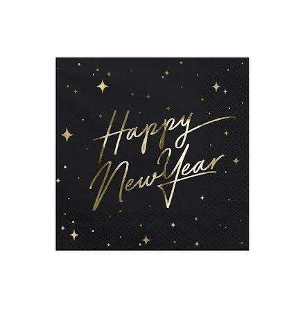 Servetter - Happy new year, svart