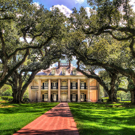 Old Southern Farm House by John Larson - Buildings & Architecture Homes ( southern, path, historic, plantation, old, shadows, house, trees, antebellum )