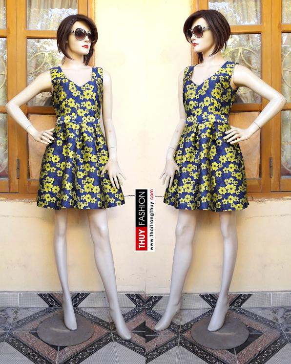 Váy xòe họa tiết hoa đào vải taffta V357 thời trang thủy