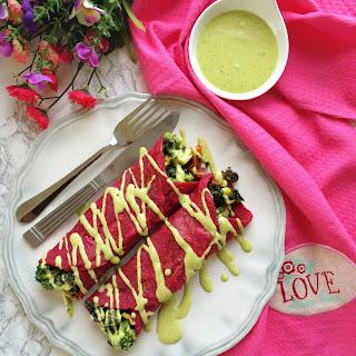 Red Velvet Savory Crepes Florentine (eggless).